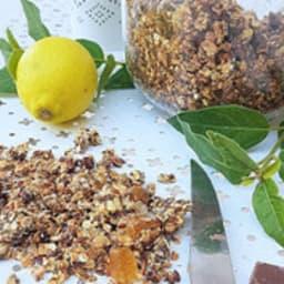 Granola maison citron, gingembre, chocolat lait