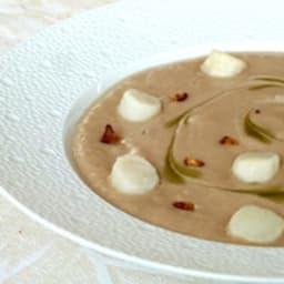 Crème de châtaignes au lait de coco et pétoncles