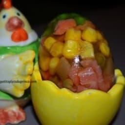 Aspic de légumes en forme d'œuf de Pâques