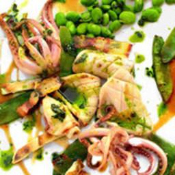 Calamar, guanciale et légumes verts