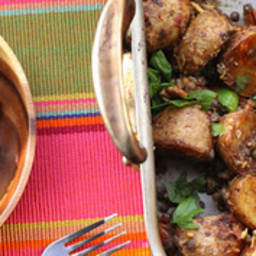 Salade tiède de pommes de terre aux lentilles et au miso