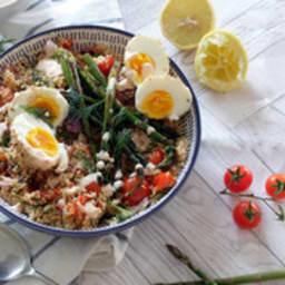 Couscous, asperges et oeufs