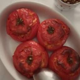 Tomates farcies aux lentilles corail et chorizo