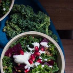 Salade de chou kale, lentilles et betterave