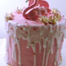 Drip cake flamant rose