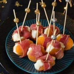 Abricots farcis chèvre jambon cru