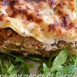 Lasagnes au potiron et champignons parfumés