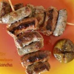 Brochettes aux 3 saucisses à la plancha