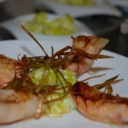 Croustillant de langoustines aux poireaux