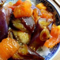 Aubergines et tomates sautées à la sauce d'huître