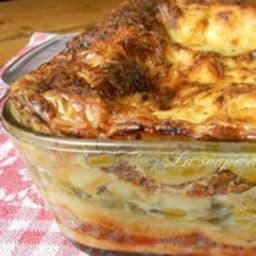 Lasagnes aux poireaux et viande mijotée