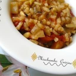 Risotto aux fenouils, poivrons et tomates