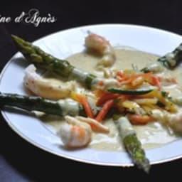 asperges vertes langoustines sauce curry
