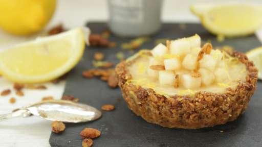 Tartelette citron poire au muesli