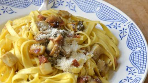 Tagliatelle aux Cèpes, Poitrine séchée et Pecorino sardo