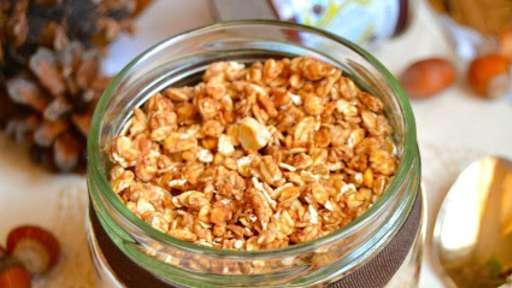 Granola à l'orange, noisette et crème de marrons