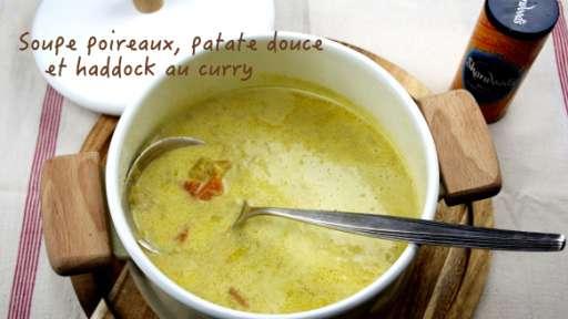 Soupe de poireaux et patates douces au haddock et curry