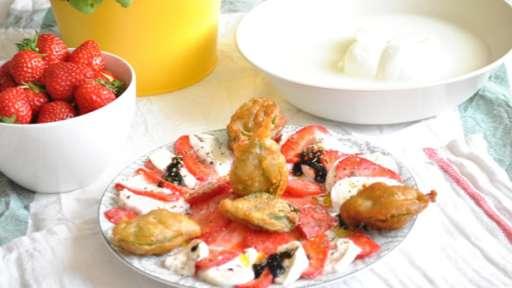 Salade de fraises mozzarella et beignets de basilic