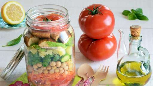 Salad Jar tomates poulet pois chiches