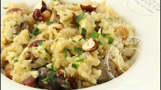 Risotto crémeux aux champignons et noisettes et son escalope de foie gras poêlé