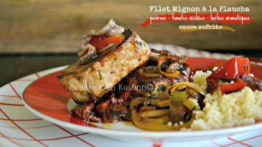 Filet mignon de porc mariné sauce sofrito à la plancha