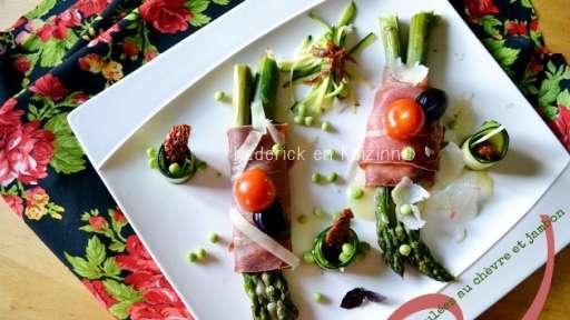 Asperges roulées au jambon italien et fromage