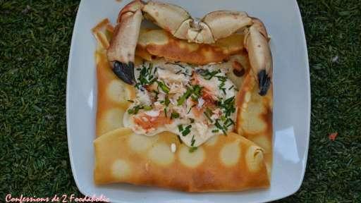Crêpes salées au crabe et crème de crabe au beurre salé
