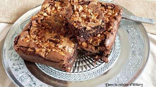 Brownie au beurre de cacahuète et son crunchy de cacahuète