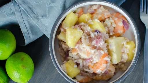Risotto exotique aux crevettes et à l'ananas