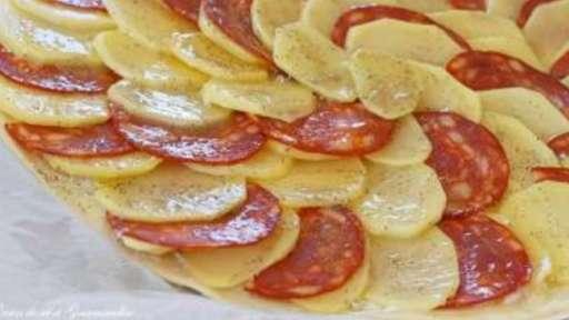 Tarte fine pommes de terre et chorizo