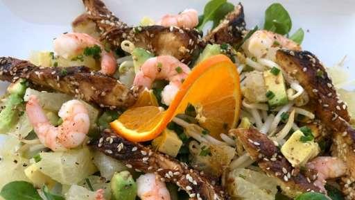 salade de poulet mariné au soja crevettes pamplemousse