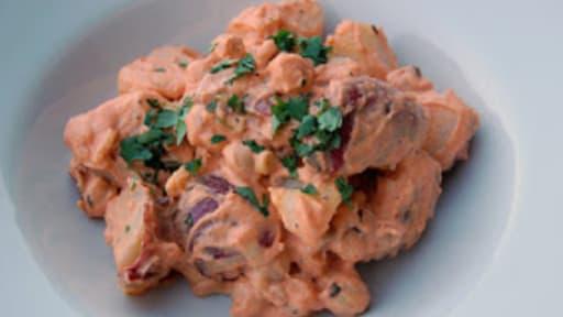 Salade de pommes de terre et tomates, sauce rose - vegan - sans gluten