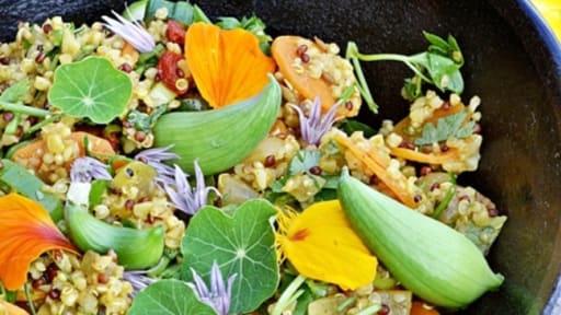 Salade quinoa, boulgour, carottes, concombres des Andes