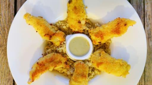 Aiguillettes de poulet panées sauce au gorgonzola