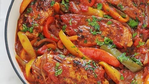 Poulet Aux Poivrons Oignons Et Tomates Recette Par Cuisine Culinaire