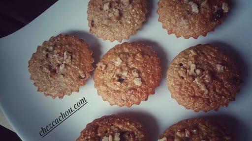 Muffins light aux cranberries, noix et avoine