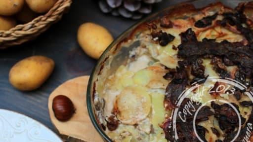 Gratin Automnal De Pommes De Terre Au Lard Champignons Et Marrons