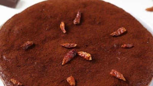 Fondant au chocolat, huile d'olive bio et piment