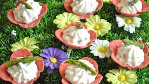 Fleurs de ricotta basilic asperge