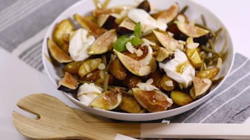 Salade de rattes rôties figues et haricots verts