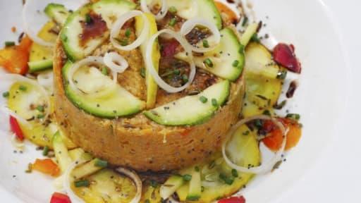 Pâté de légumes de saison crus, cuits et confits, épices et chorizo.