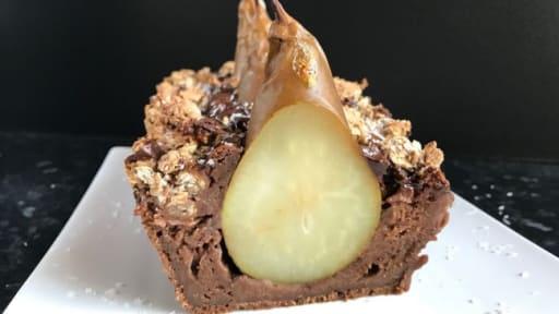 Crumble avoine cake chocolat poire