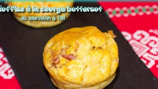 Muffins à la courge butternut au saucisson à l'ail