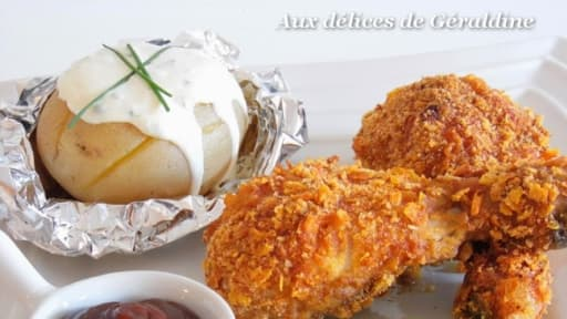 Pilon De Poulet Pane A L Americaine Et Pommes De Terre Sauce Fromage