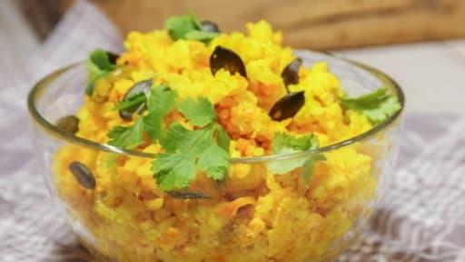 Riz basmati au curcuma, citron vert et caviar de carotte