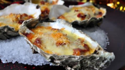 Huîtres gratinées au chorizo et sabayon au prosecco