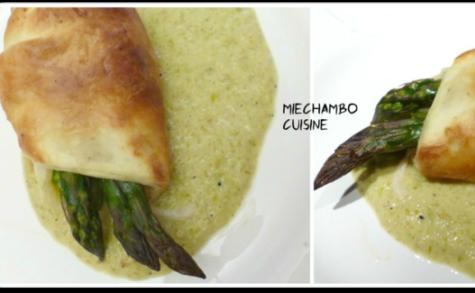 Feuilletés d'asperges au parmesan et pancetta, sauce crème d'asperges au curry et noilly prat