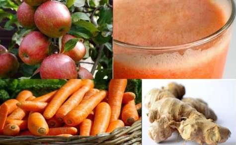 Jus de fruits frais santé aux pommes, gingembre et carottes