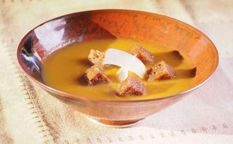Soupe de potiron au pain d'épices caramélisé
