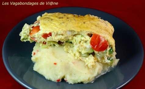 Purée parfumée et omelette courgette-tomate en sachet